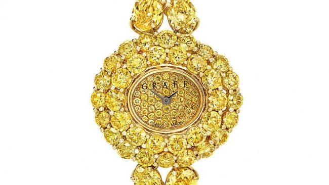 Graff在巴塞尔钟表珠宝展首次亮相鲜彩黄钻手表